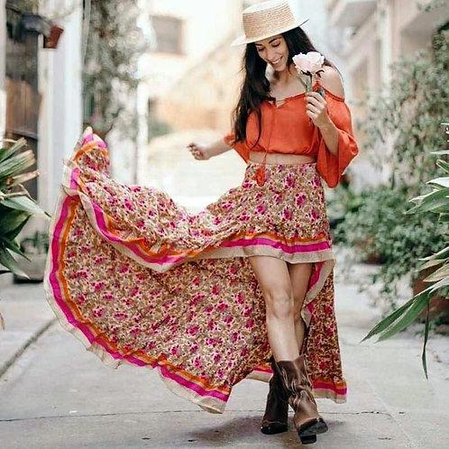 BOHO INSPIRED Boho Style Skirts Women Irregular Maxi Skirt