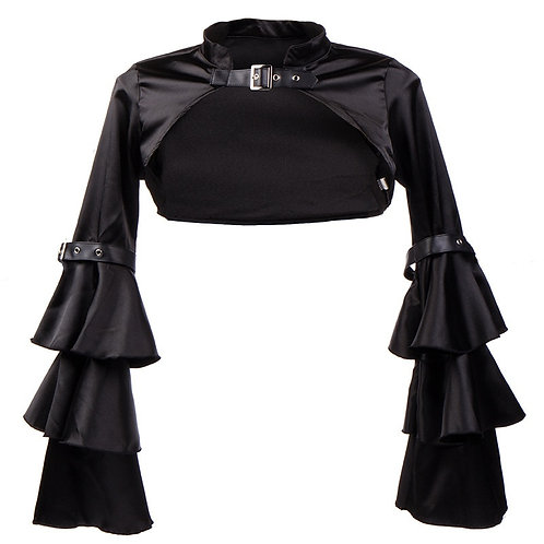 Black Short Steampunk Jacket Long Flare Sleeve Women
