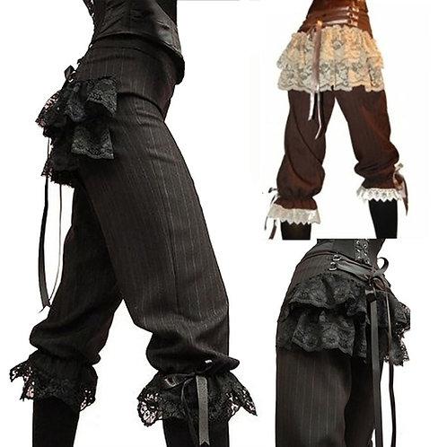 2020 Medieval Viking Pirate Costume Capris Lace Pants