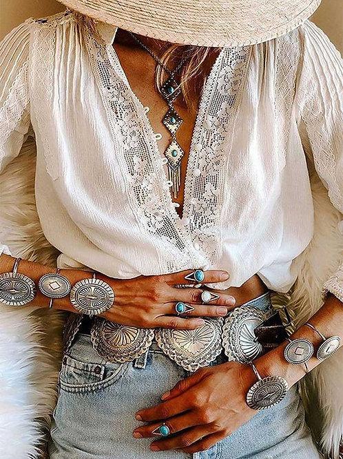AYUALIN Long Sleeve White Floral Lace Women Boho Clothing