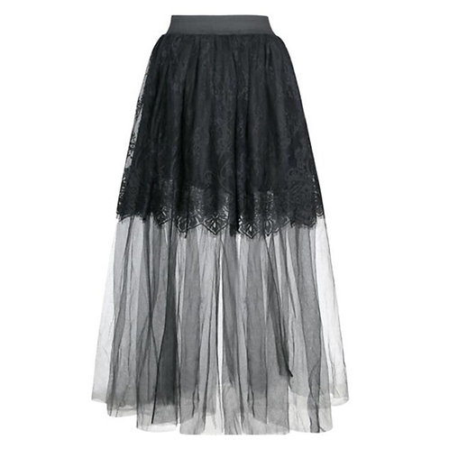 3 Layer Black Floral Lace &Transparent Tulle A-Line Pleated