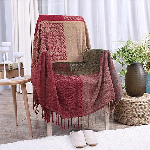 Bohemian Chenille Blanket for Couch Sofa Decorative Slipcover Blanket