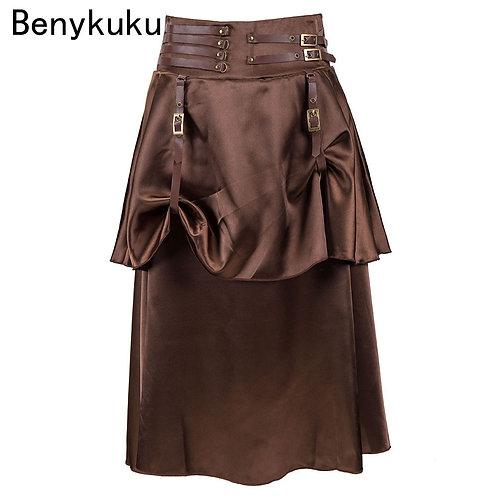 Brown Satin Hip-Hop 2 Layers Long Burlesque Pirate Skirt