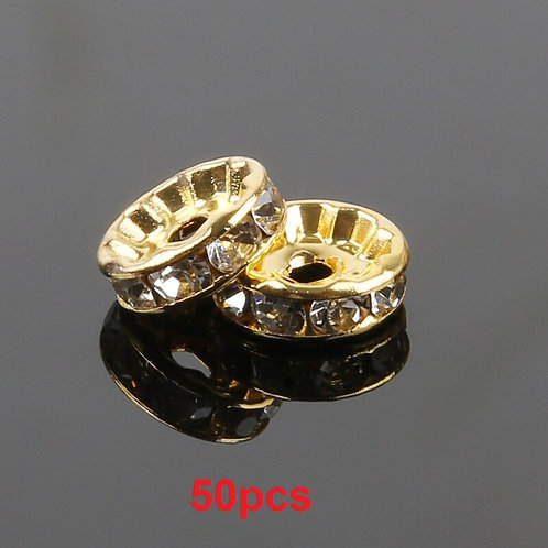 50pcs 4/6/8/10mm Gold/Silver Plated Crystal Rhinestone Beads