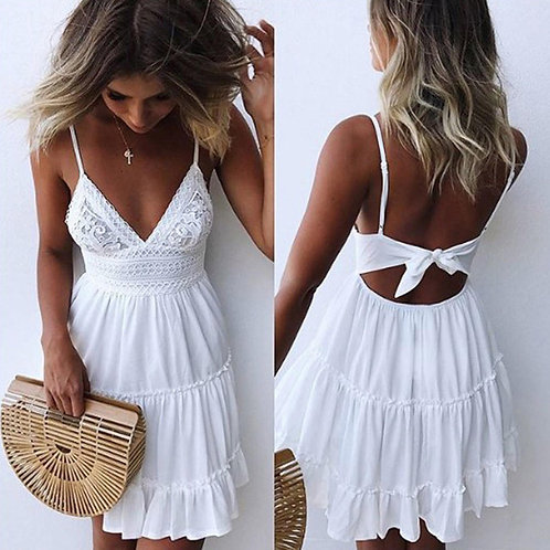 Boho Summer Dress Women Sexy Strappy Lace White Mini Dress
