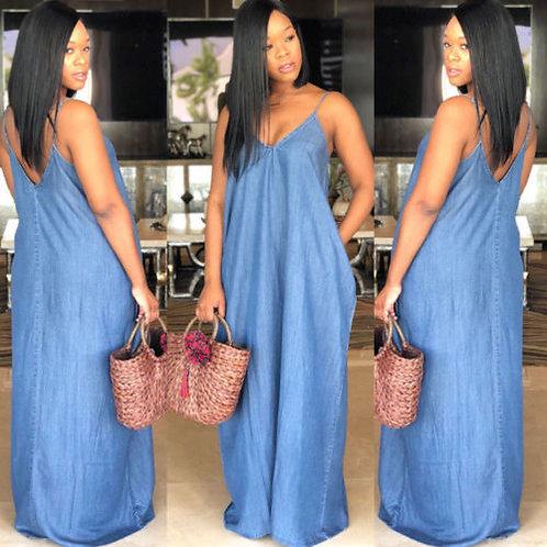Boho Backless Summer Long Denim Maxi Dress