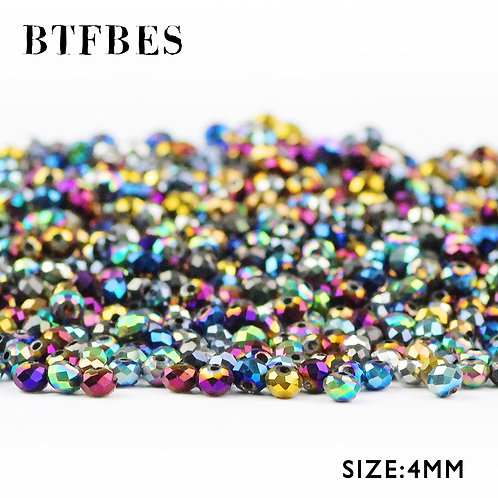 BTFBES Faceted Flat Round Austrian Crystals 4mm 100pcs