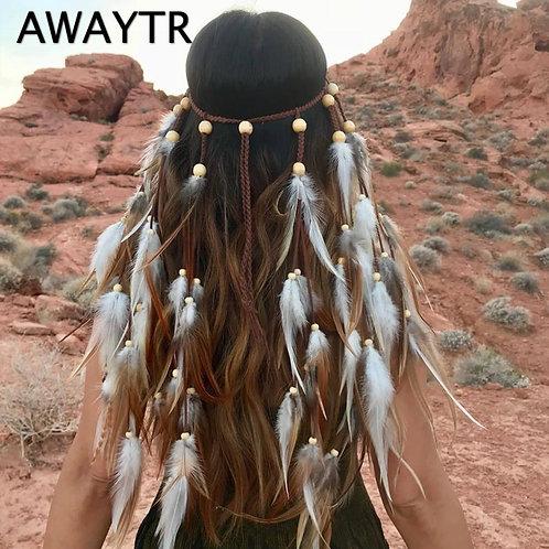 AWAYTR Fashion Boho Feather Headband