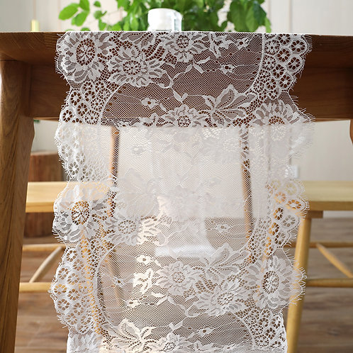 35x300cm Vintage White Black Lace Floral Table