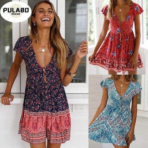 2021 Summer Women Floral Print Boho Dress
