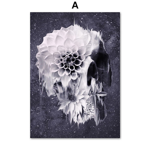 Anatomy Skull and Flowers Crazy Rock Wall Art Canvas