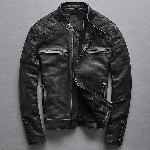 Brand Fashion Black Cowskin Motorcycle Jacket David Beckham