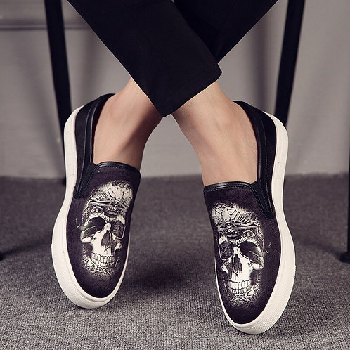 British Style Mens Casual Punk Hip Hop Dress Genuine Leather Shoes