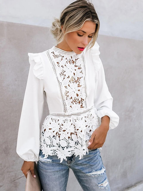 2020 Women Floral Lace Blouses Boho Long Sleeve White Tops