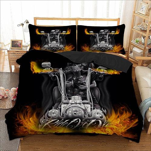 3D Skull Fire Halle Moto Cool Duvet Cover Bedding Set Single