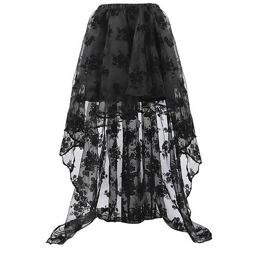 Black High Low Steampunk Skirt Women Retro Party Gothic