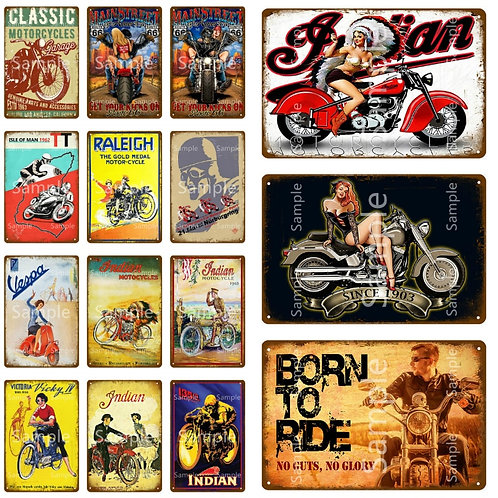 Born to Ride Motorcycles Metal Wall Art Tin Sign Vintage