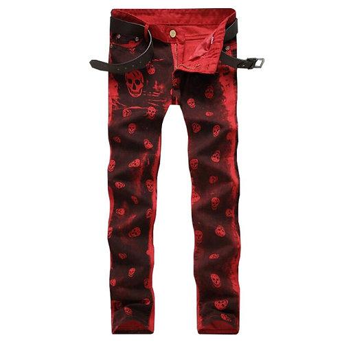 2019 New Dropshipping Men Jeans Red White Skull Pattern Denim Pants