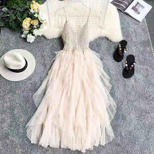 2020 Summer Sleeveless Sling Gauze Lace Tulle Dress