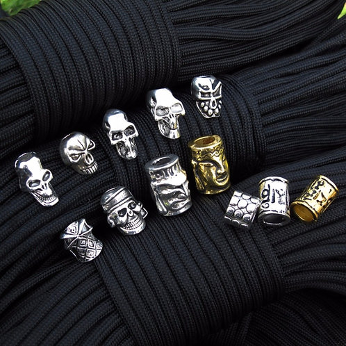 10Pcs/Lot Paracord Beads Metal Charms Skul