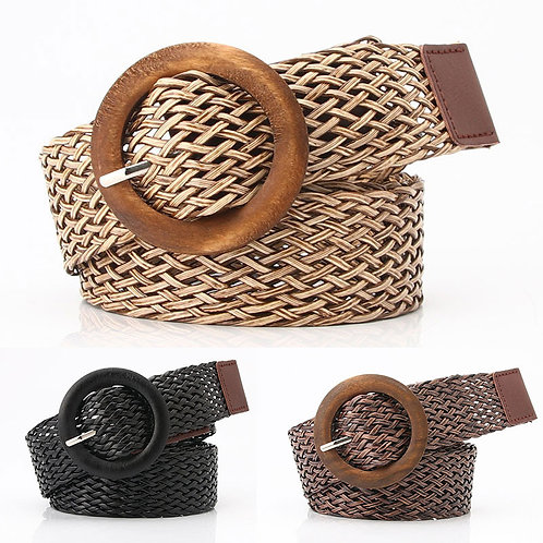 Boho Braided Waist Belt Black Coffee Round
