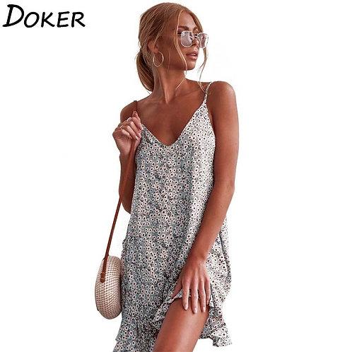2020 Summer Floral Print Sexy Mini Dress