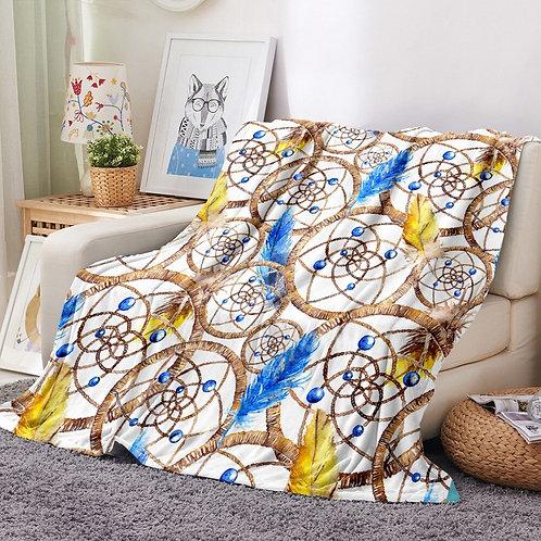 Bohemian Style Flannel Blanket 3D Print Mandala Boho Fleece Blanket Dreamcatcher