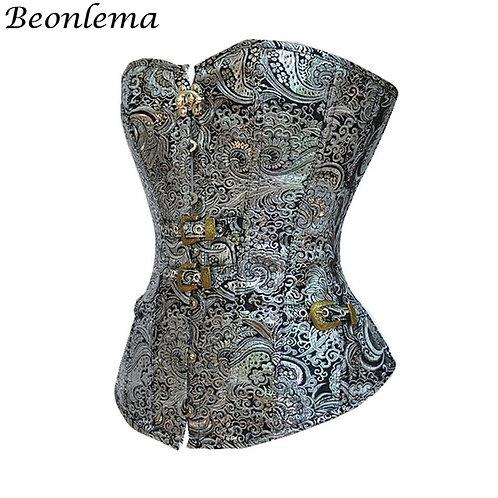 Beonlema Women Overbust Punk Sexy Corset Silver Steampunk