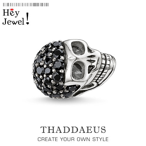 Beads Skull , Silver Zirconia Beads Fits Bracelet ewelry Accessories