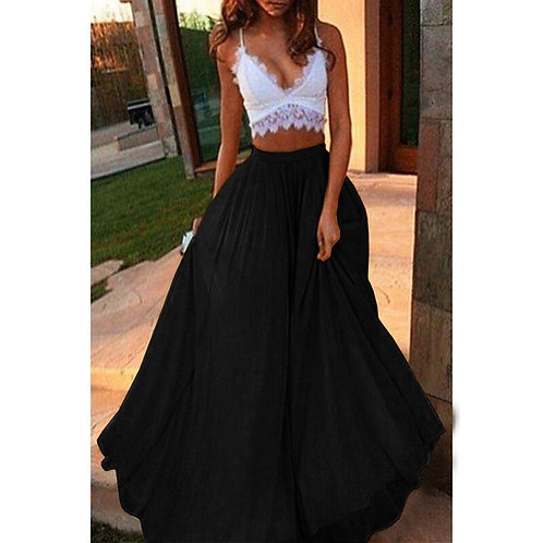 2021 Women Elegant Chic Big Swing Long Skirts Elastic Waist