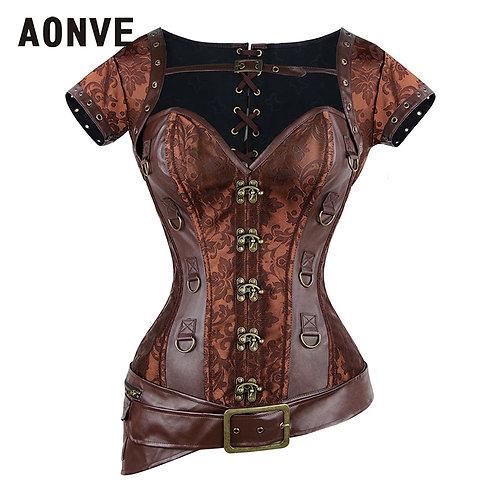 Aonve Women Steampunk Corset Vintage Brown Bustiers