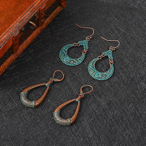 Bronze Dangle Tassel Earrings Metal Indian Ethnic