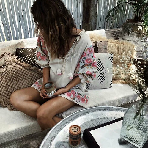 Boho  Floral Print Sleeve Beach Long Bohemian  Mini Dress Ladies v Neck