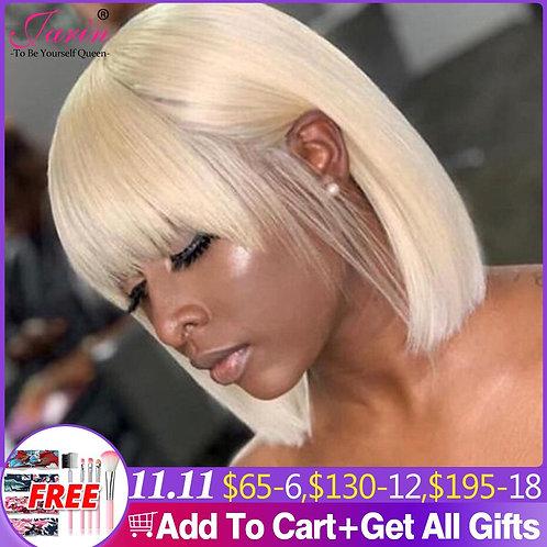 1-2-3 Pcs Bulk Sale Straight Bob 613 Blonde Human Hair Wigs