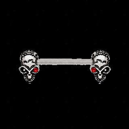 316L Stainless Steel Red Eye Alien Skull Nipple Bar