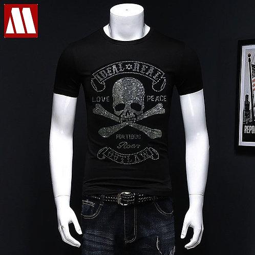 2021 Summer Men's Short-Sleeved Tee Shirts Shinning Skull