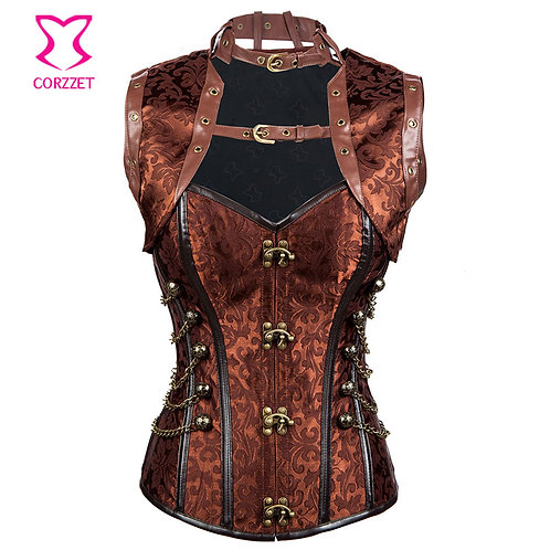 Brown Steampunk Corset Jacket Set Burlesque Costume