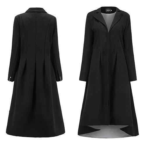 Autumn Women Swallowtail Wool Long Black Trench Dress