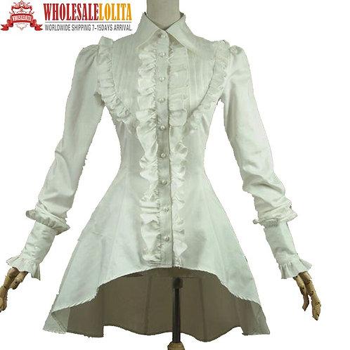 Victorian Gothic Lolita Romantic Cotton Blouse Ruffles Titanic Steampunkd