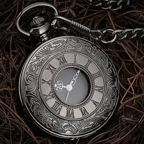 Black Roman Numerals Quartz Pocket Watch Men Women