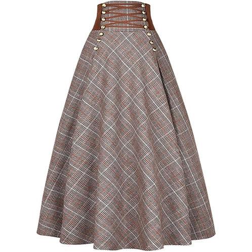 Autumn Winter Vintage Plaid Long Woolen Skirt Women