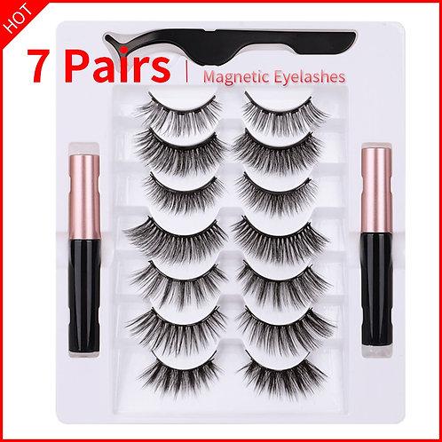 7 Pairs Eye Lashes Magnetic Eyelashes and Eyeliner