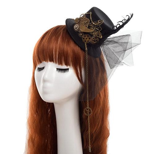 Women Steampunk Top Hat Black Mini Hair Clip Hair Accessories