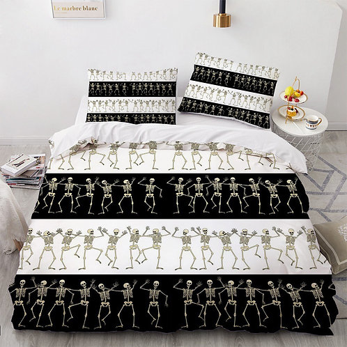 3D Skull Black Bedding Sets Duvet Quilt Cover Set Comforter