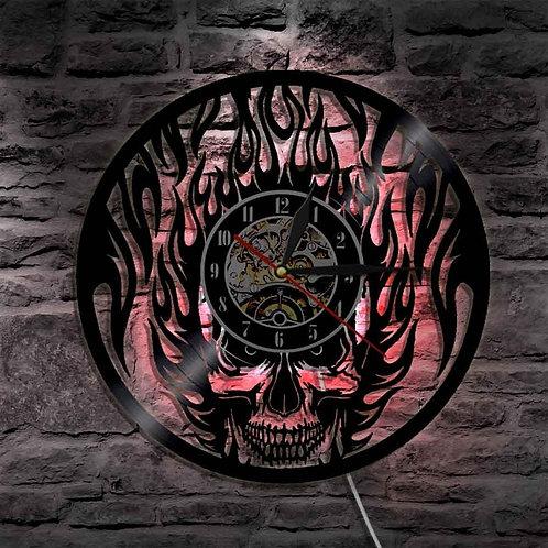 Angry Flaming Skull Wall Light Skull Head Wall Art Vinyl LP Record Wall Clock