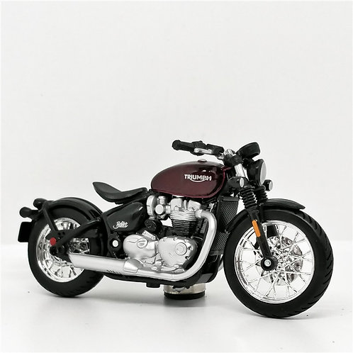 Bburago 1:18 Triumph Bonneville Bobber Red Scale Model Bikes Die-Cast Motorcycle