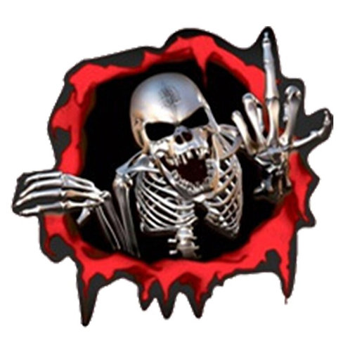 15*14CM Auto Car Body Window Creative 3D Skeleton Skull