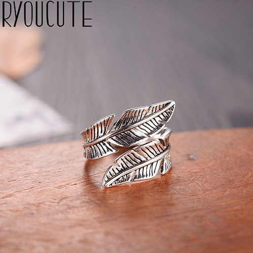 2019 Bijoux Fashion Real Silver Color Feather Ring