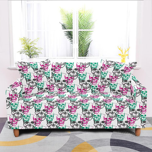1/2/3/4-Seater Stretch Sofa Covers Furniture Protector Skull