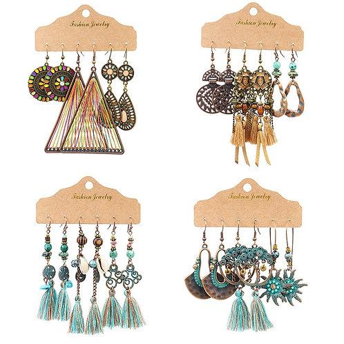 Boho Womem Ethnic Multicolor Tassel Earring